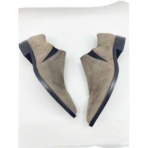 Zara Basic Gray Faux Suede Pointed Toe Booties 10
